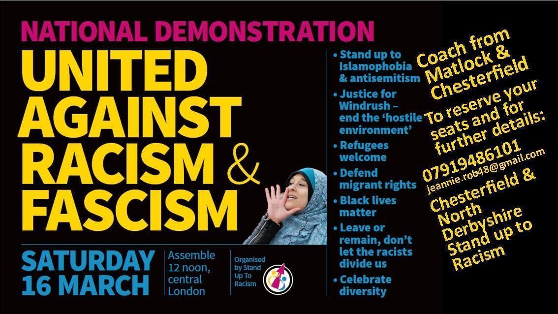 North Derbyshire Coach to Unity March Against Racism & Fascism